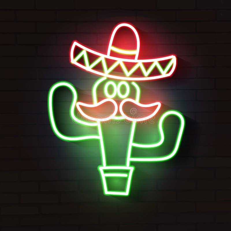 Kaktus-Mexikaner Helles Neonzeichen zeichen Auch im corel abgehobenen Betrag lizenzfreie abbildung