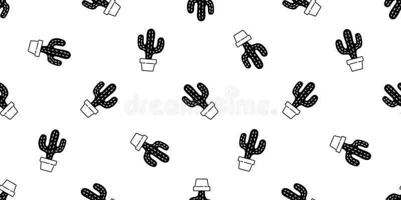 Kaktus nahtlose Muster Vektor Wüste botanica Blütenpflanze Sommertuch isolierte wiederholen Tapeten Fliesenhintergrund doodle i vektor abbildung