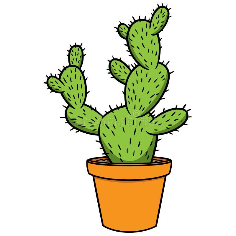 Kaktus och kruka vektor illustrationer