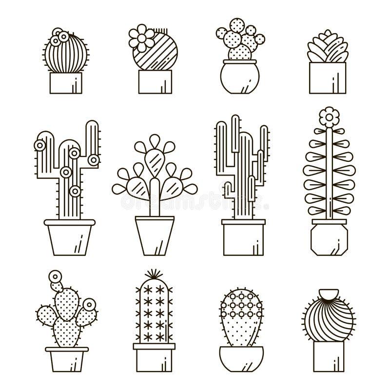 Kaktus- och suckulentvektorlinje symbolsuppsättning Exotiska blom- trädgårds- konturer Illustration för design för naturkaktusöve stock illustrationer