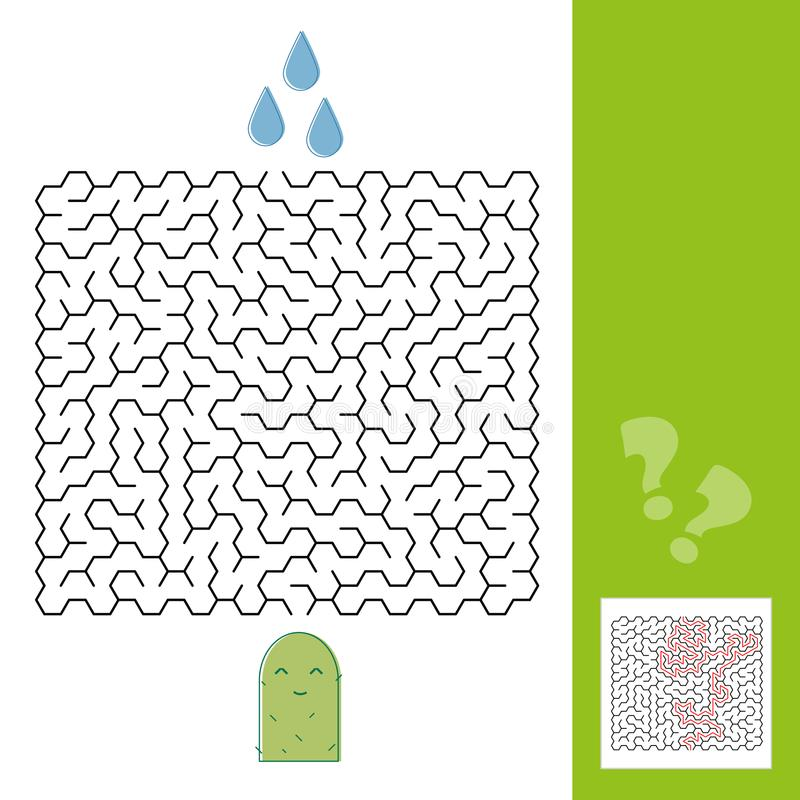 Kaktus- och vattenlabyrint spelar för mer ung ungar med en lösning - vektor royaltyfri illustrationer