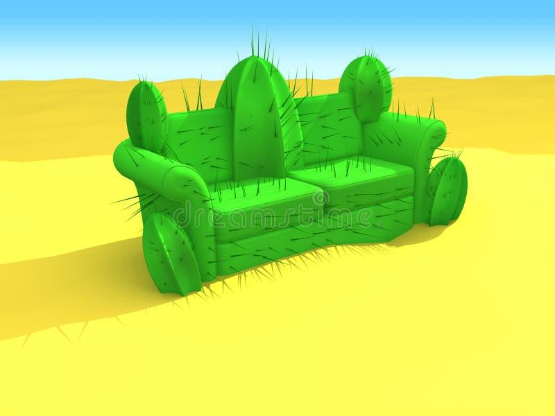 Kaktus-Sofa in der Wüste stock abbildung