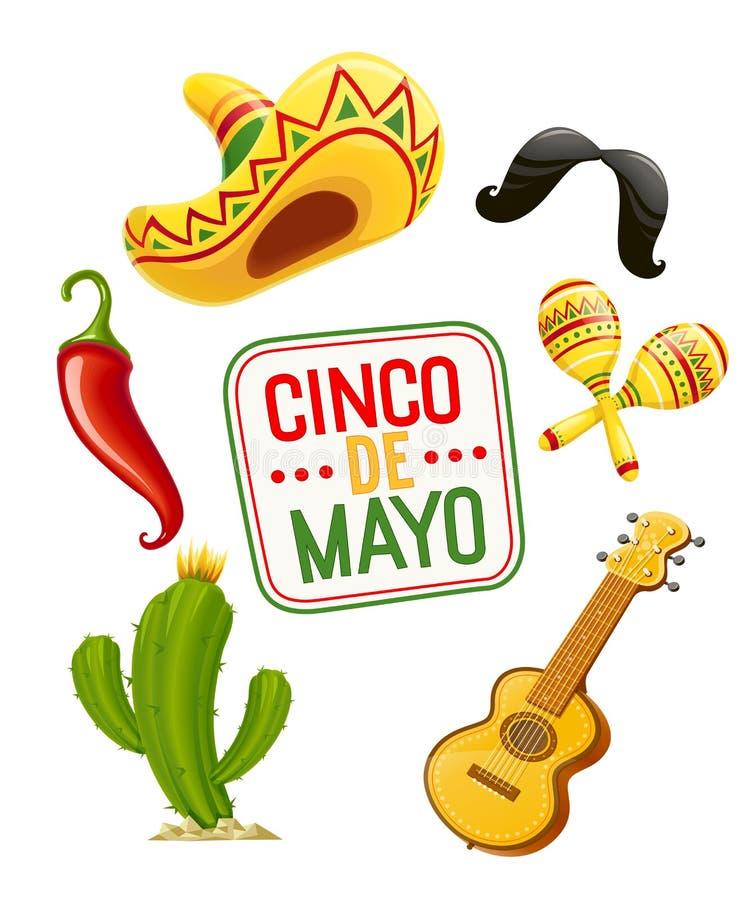 Kaktus, sombrero, gitara, wąs, pieprz, marakasy Set dla Cinco de Mayo ilustracja wektor