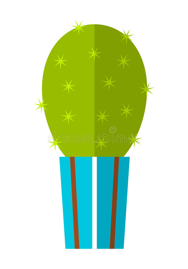 Kaktus, sukulent Płaska kolor ikona, ilustracja doniczkowa roślina na białym tle zaciemnia royalty ilustracja