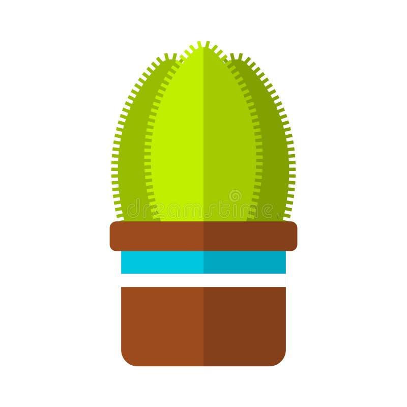 Kaktus, sukulent Płaska kolor ikona, ilustracja odizolowywająca na białym tle doniczkowa roślina zaciemnia ilustracji