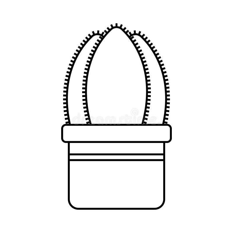 Kaktus, sukulent Płaska liniowa ikona, ilustracja odizolowywająca na białym tle doniczkowa roślina Przedmiot dla projekta royalty ilustracja