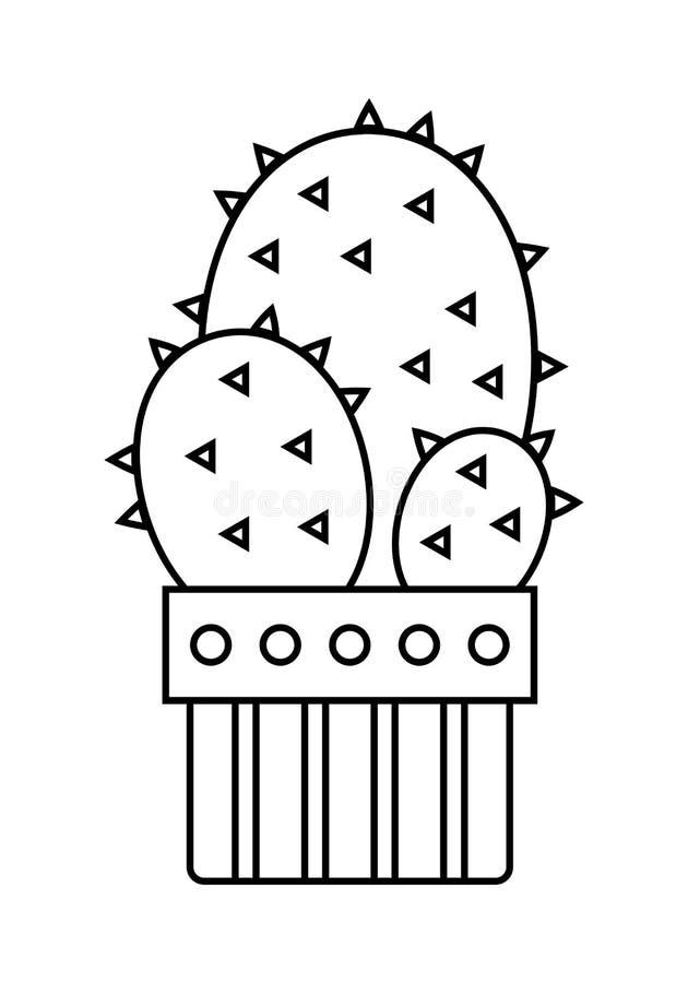 Kaktus, sukulent Płaska liniowa ikona, ilustracja odizolowywająca na białym tle doniczkowa roślina zaciemnia royalty ilustracja