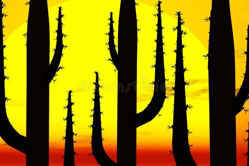 kaktus sylwetka słońca ilustracji