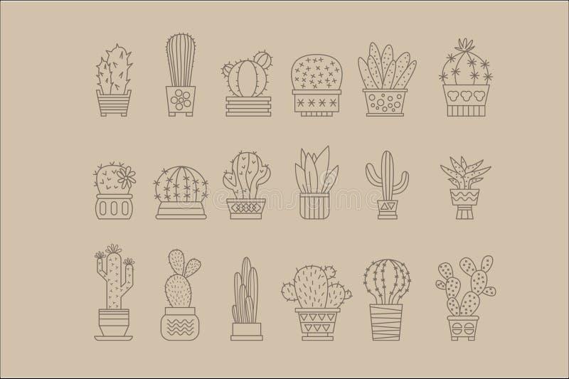 Kaktus und Succulents in den Töpfen umreißen Vektorikonen großen Satz, Betriebsnaturelement-Vektorillustration lizenzfreie abbildung