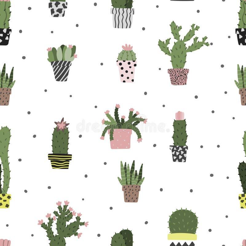 Kaktus w garnka bezszwowa ręka rysującym wzorze Skandynawskiego prostego kreskówka stylu kropkowany tło royalty ilustracja
