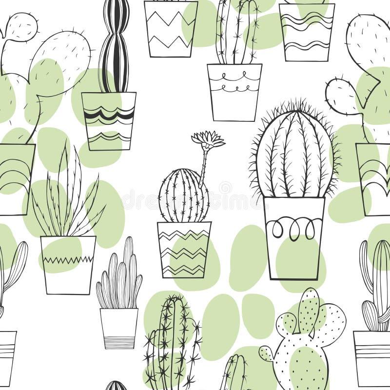 Kaktus w garnkach wektor bezszwowy wzoru ilustracji