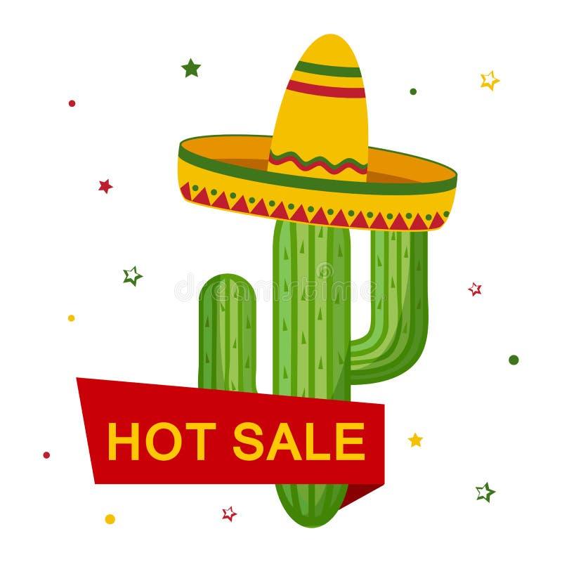 Kaktus w sombrero i faborek z wpisową GORĄCĄ sprzedażą wektor royalty ilustracja