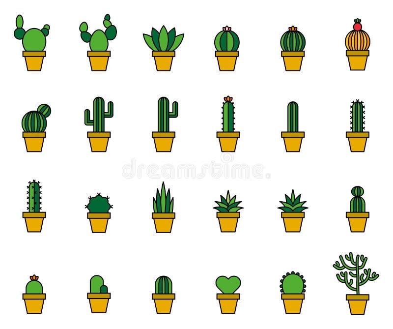 Kaktus Wypełniać Kreskowe ikony obraz stock