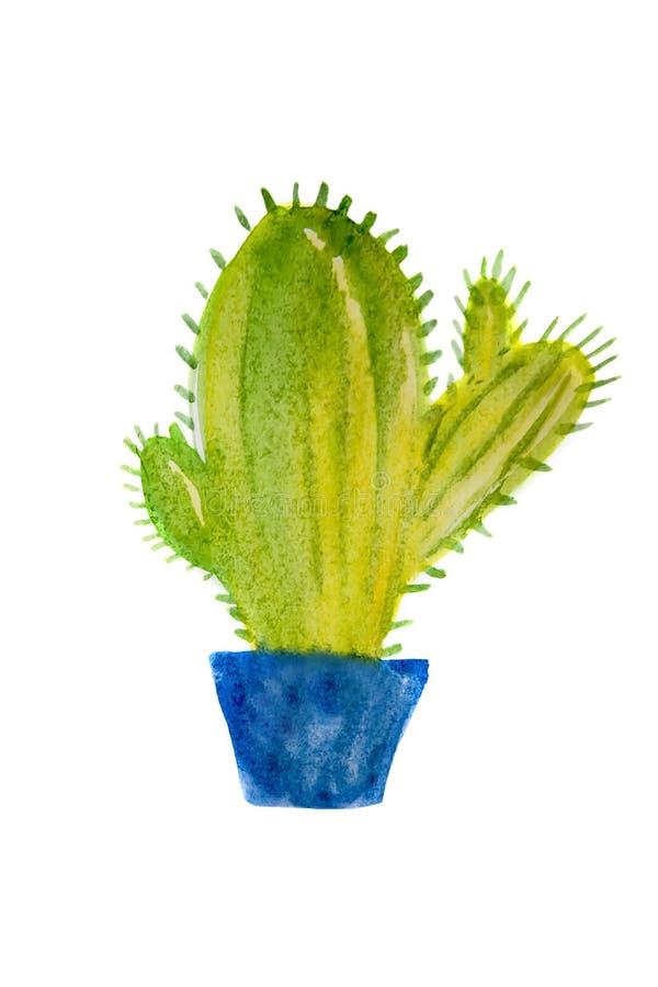 Kaktus, zielona roślina, akwareli ilustracja, ręka rysunek, botaniczny obraz na odosobnionym białym tle royalty ilustracja