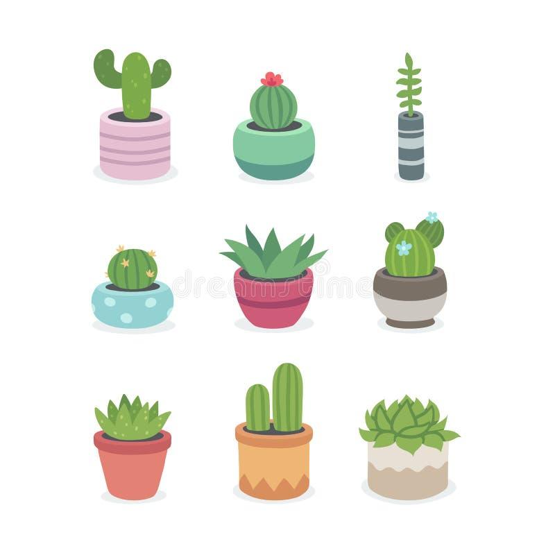 Kaktusa i sukulentu rośliny w garnkach ilustracja wektor