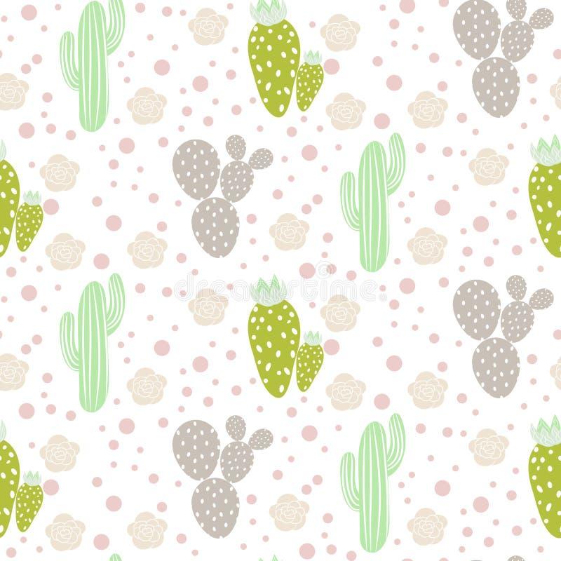Kaktusa pustynny wektorowy bezszwowy wzór Zielona i popielata natury tkaniny druku tekstura royalty ilustracja