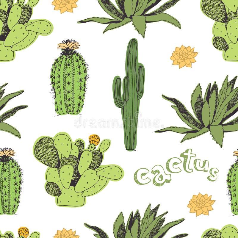 Kaktusa wzór royalty ilustracja