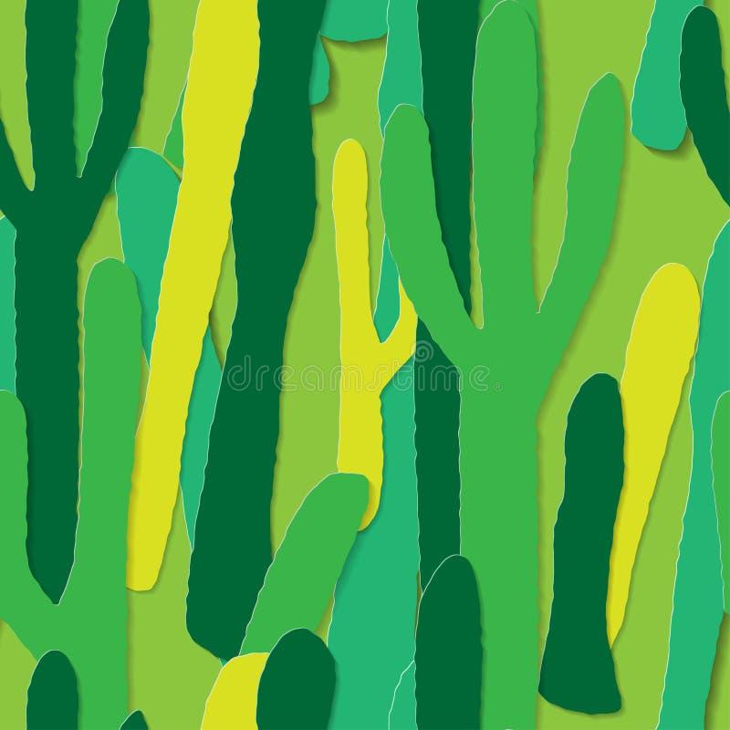 Kaktusbakgrund, sömlös modell för vektor, pappers- konst, papperssnitt vektor illustrationer