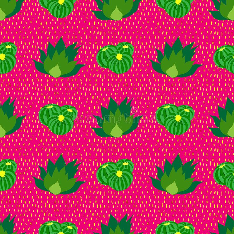 Kaktusbakgrund, sömlös modell för vektor, röd bakgrund med prickar stock illustrationer