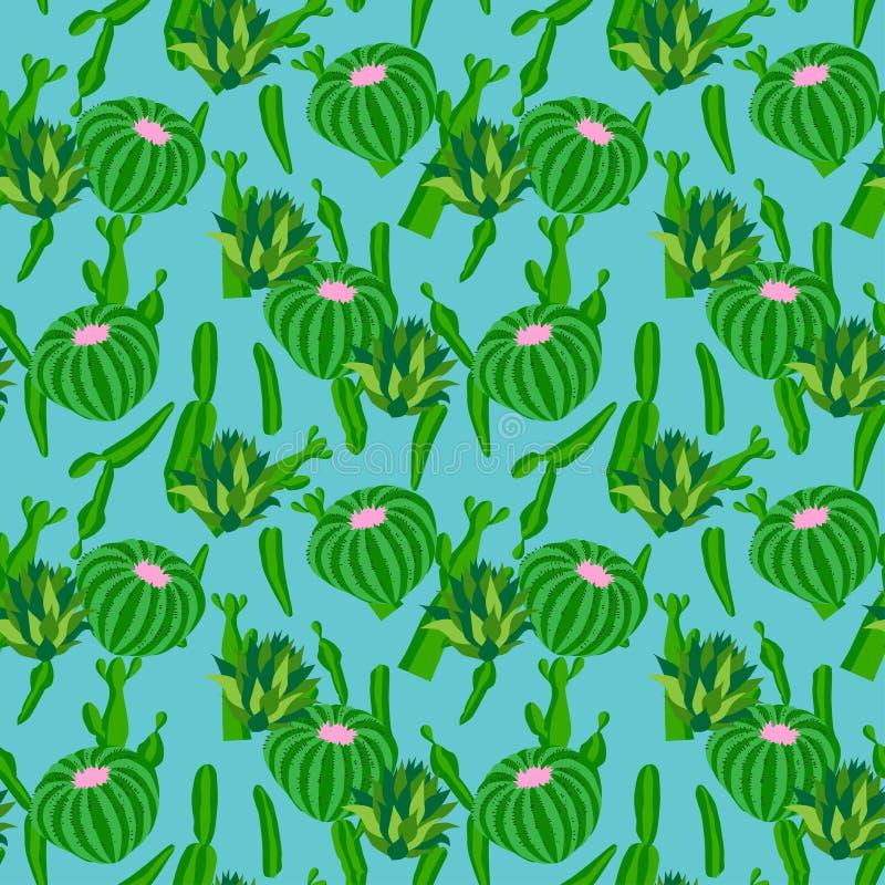 Kaktusbakgrund, sömlös modell för vektor som isoleras på blått stock illustrationer