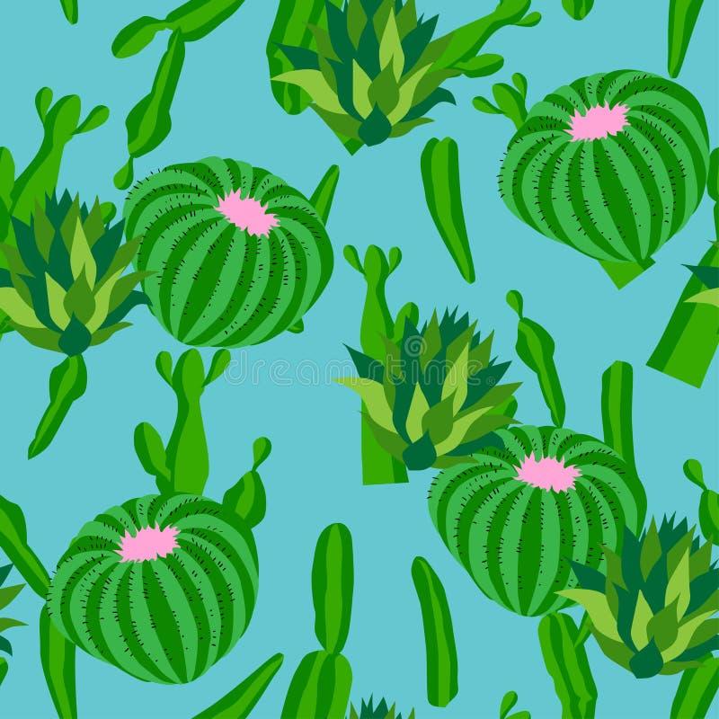 Kaktusbakgrund, sömlös modell för vektor som isoleras på blått vektor illustrationer