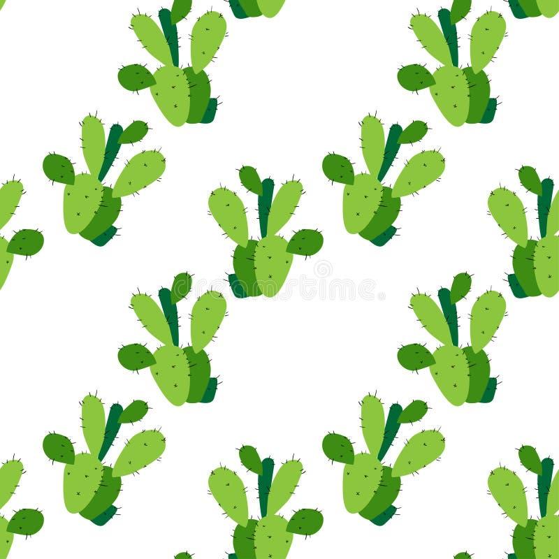 Kaktusbakgrund, sömlös modell för vektor som isoleras på vit vektor illustrationer