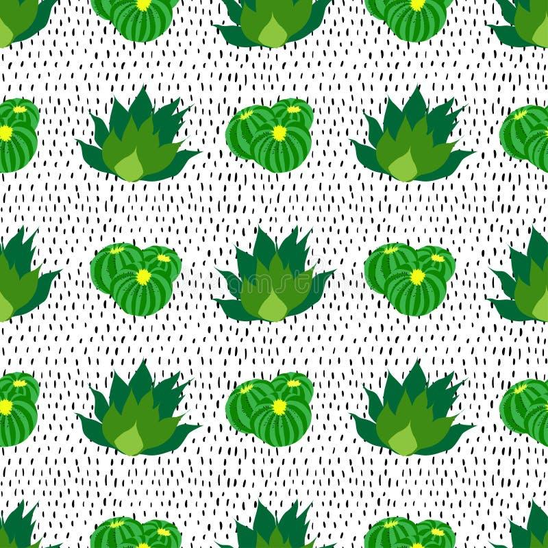 Kaktusbakgrund, sömlös modell för vektor som prickas stock illustrationer