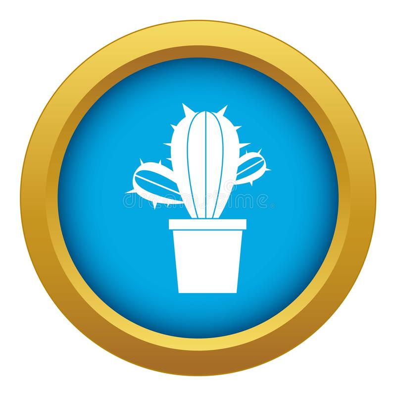 Kaktushouseplants i den isolerade blåa vektorn för krukasymbol vektor illustrationer