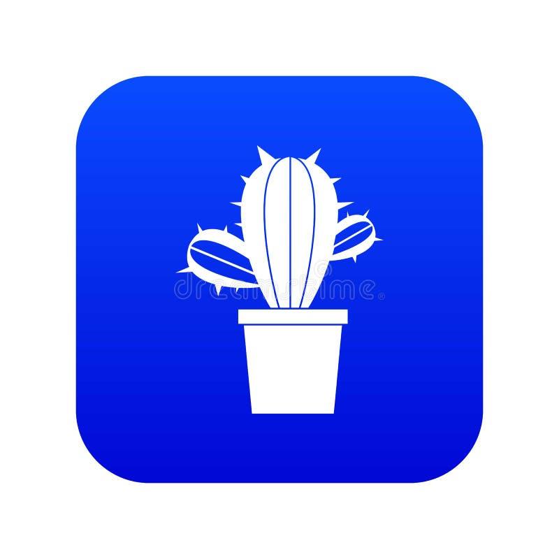 Kaktushouseplants i digitala blått för krukasymbol stock illustrationer