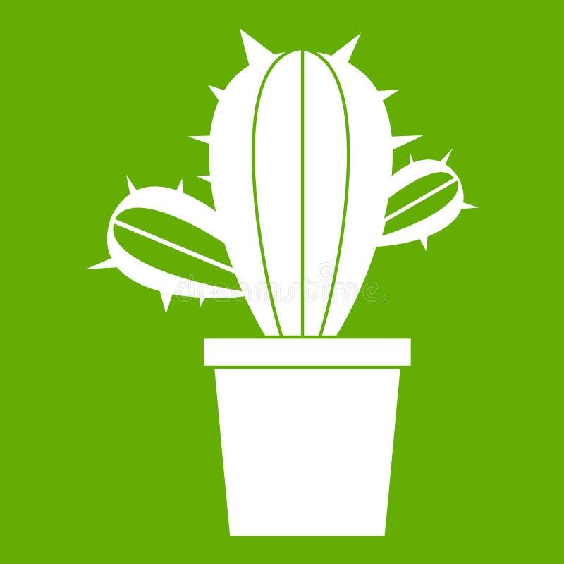 Kaktushouseplants i krukasymbolsgräsplan vektor illustrationer
