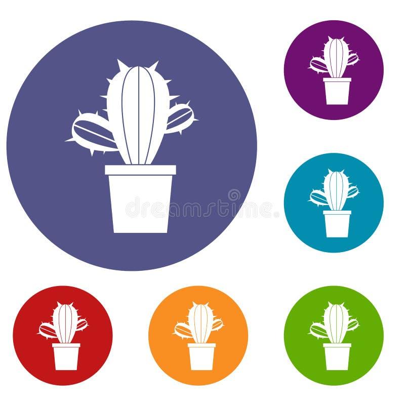 Kaktushouseplants i krukasymbolsuppsättning stock illustrationer