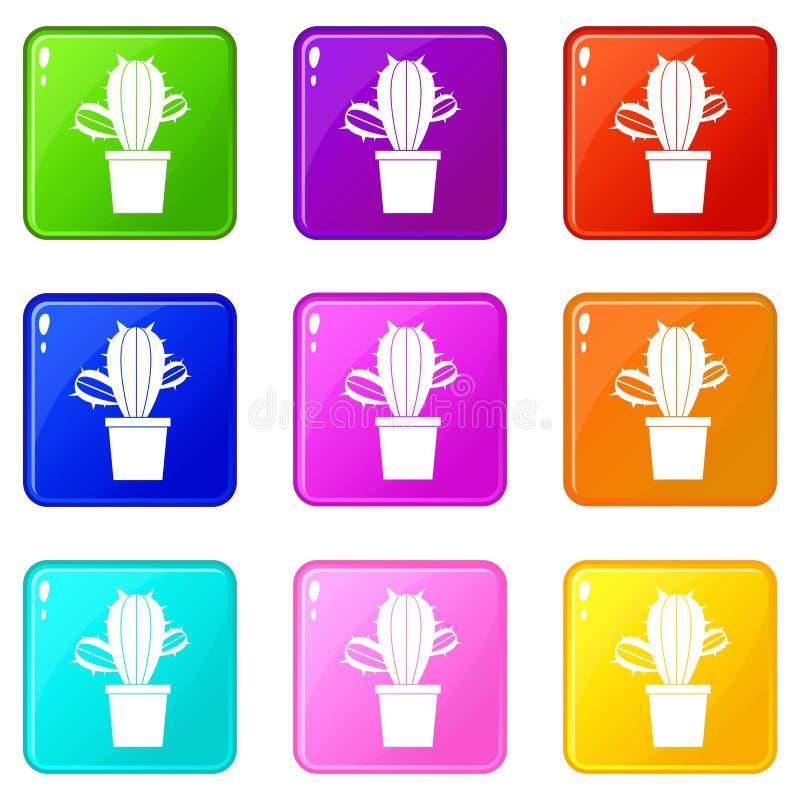 Kaktushouseplants i uppsättning för krukasymboler 9 stock illustrationer