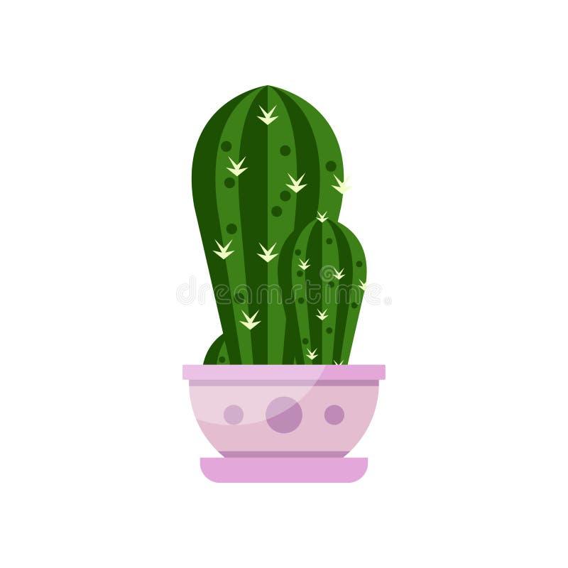 Kaktushusväxt, inomhus blomma i krukan, elegant hem- dekorvektorillustration stock illustrationer