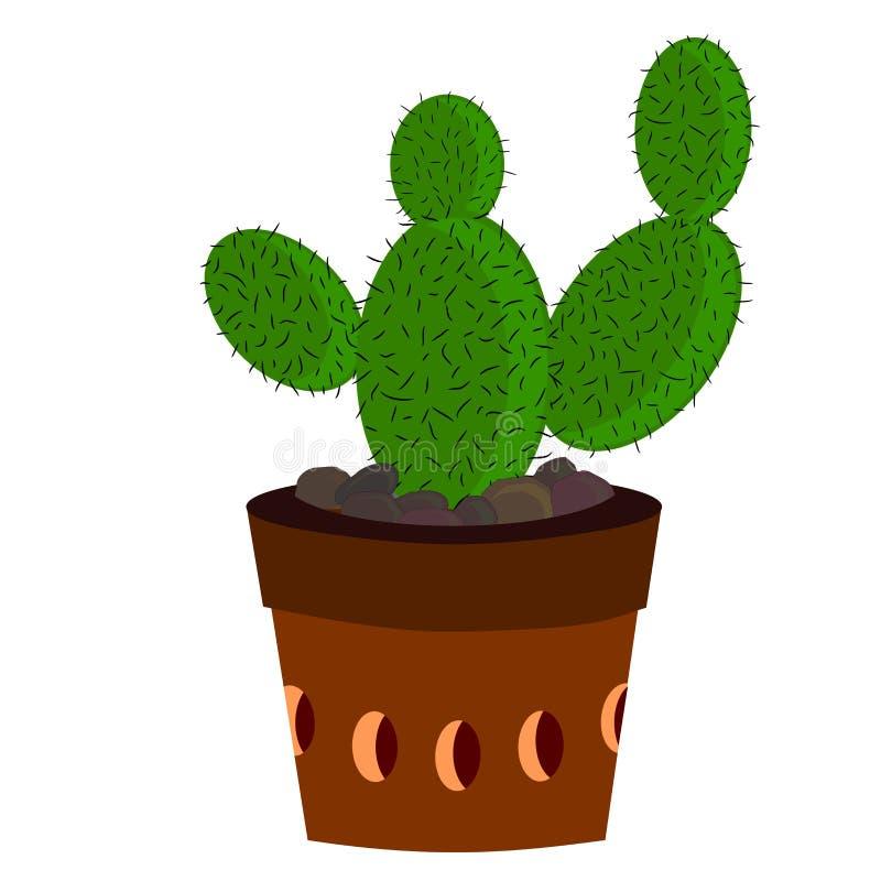 Kaktusordningar i en kruka royaltyfri illustrationer