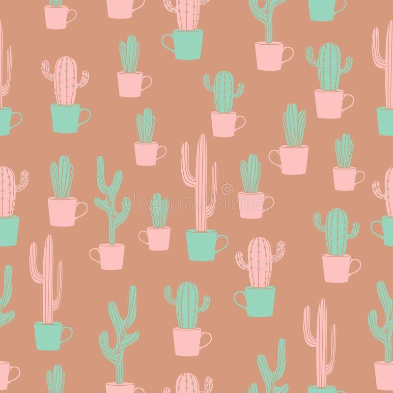 Kaktusowa Bezszwowa deseniowa Wektorowa ilustracja royalty ilustracja