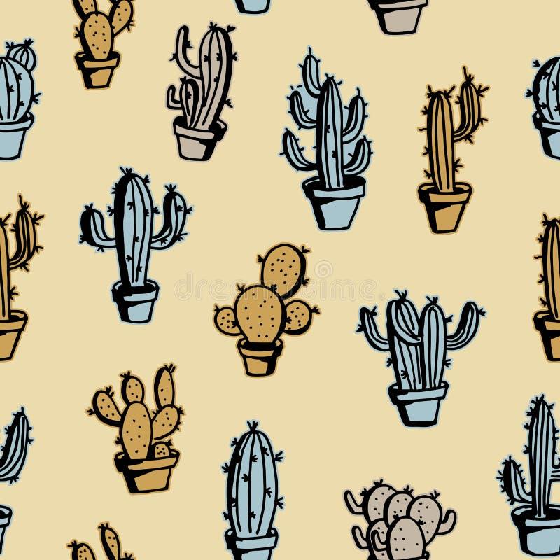 Kaktusowa ręka rysująca z kolorowym rocznika stylu kolekcji setem ilustracja wektor