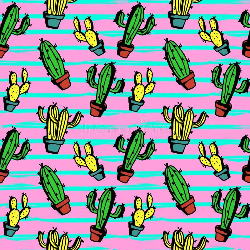 Kaktusowa ręka rysujący bezszwowy wzór z śliczna ręka rysującą kolorową zielenią, kolorem żółtym i kobiecymi kolorami, royalty ilustracja