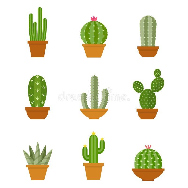 Kaktusowe ikony w mieszkaniu projektują na białym tle ilustracja wektor