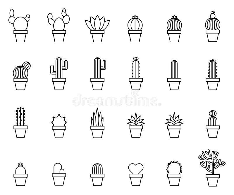 Kaktusowe kontur ikony obrazy stock