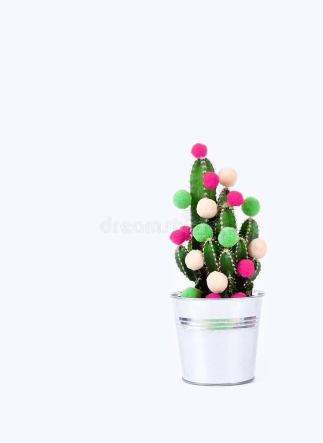 Kaktusowego drzewnego tropikalnego bożego narodzenia tła nowego roku kwiatu garnka piłek wakacyjnego prezenta zielonego czerwoneg fotografia stock