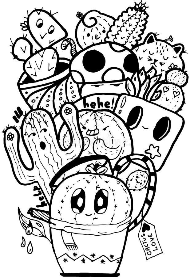 Kaktusowego miłości Łatwego Doodle czarny i biały odosobniony zdjęcie stock