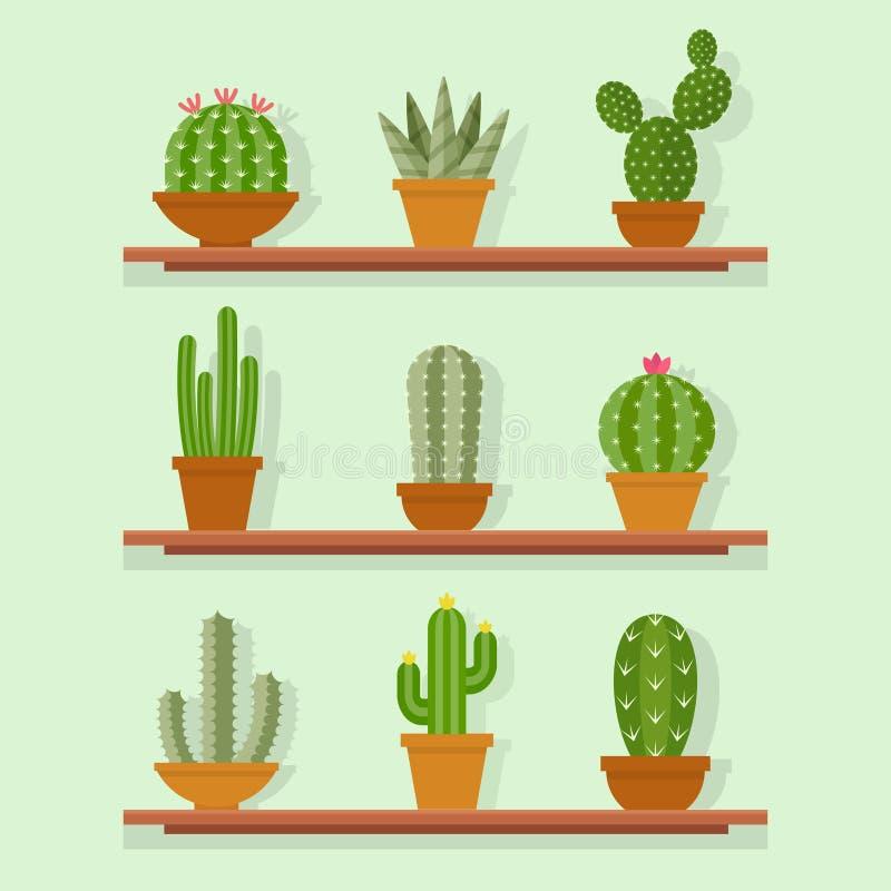 Kaktusowej ikony wektorowa ilustracja w płaskim stylu royalty ilustracja