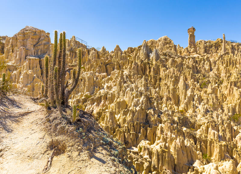 Kaktusowej księżyc geological formacj Dolinny bizzare, księżycowy kształta cl zdjęcie stock