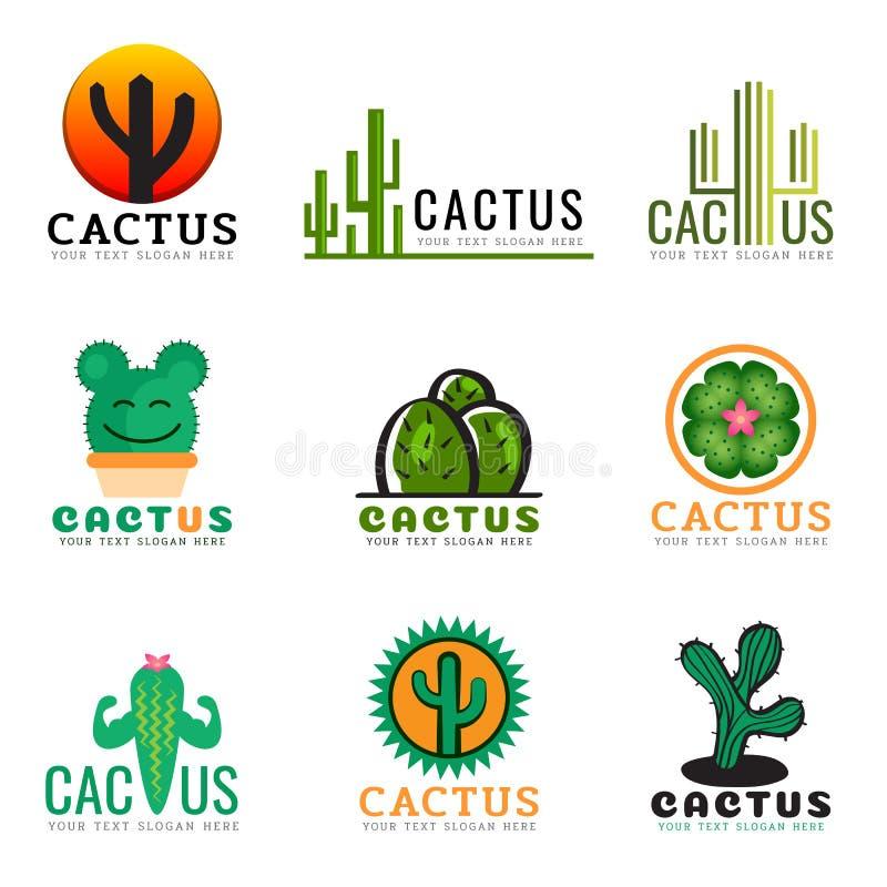 Kaktusowej logo kreatywnie wektorowej ilustraci ustalony projekt royalty ilustracja