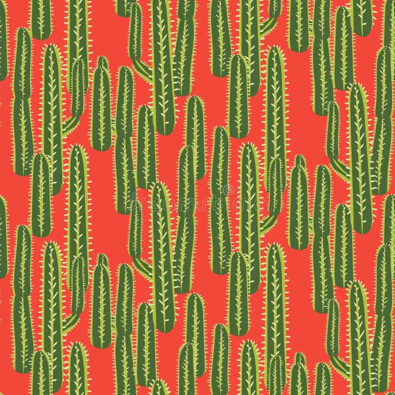 Kaktusowej rośliny wektorowy bezszwowy wzór  ilustracja wektor