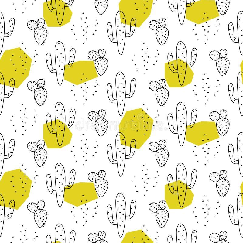 Kaktusowi prości linii zieleni punkty barwi stylowego wektoru wzór ilustracja wektor