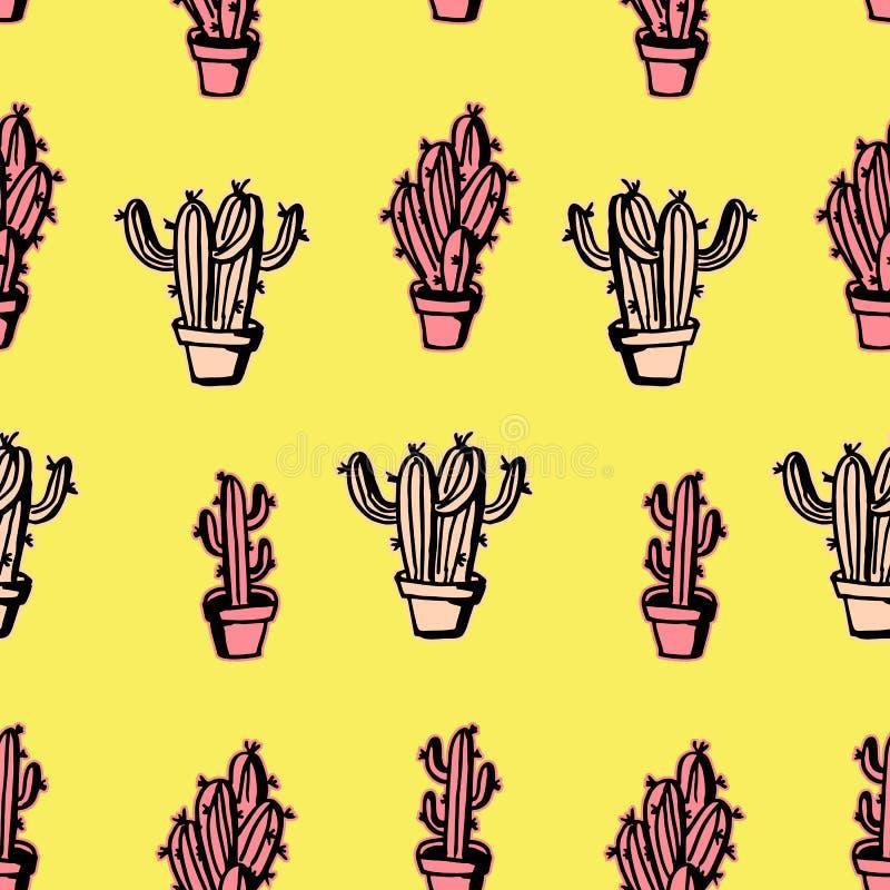 Kaktusowy bezszwowy deseniowy pastelowy rocznika tło ilustracji
