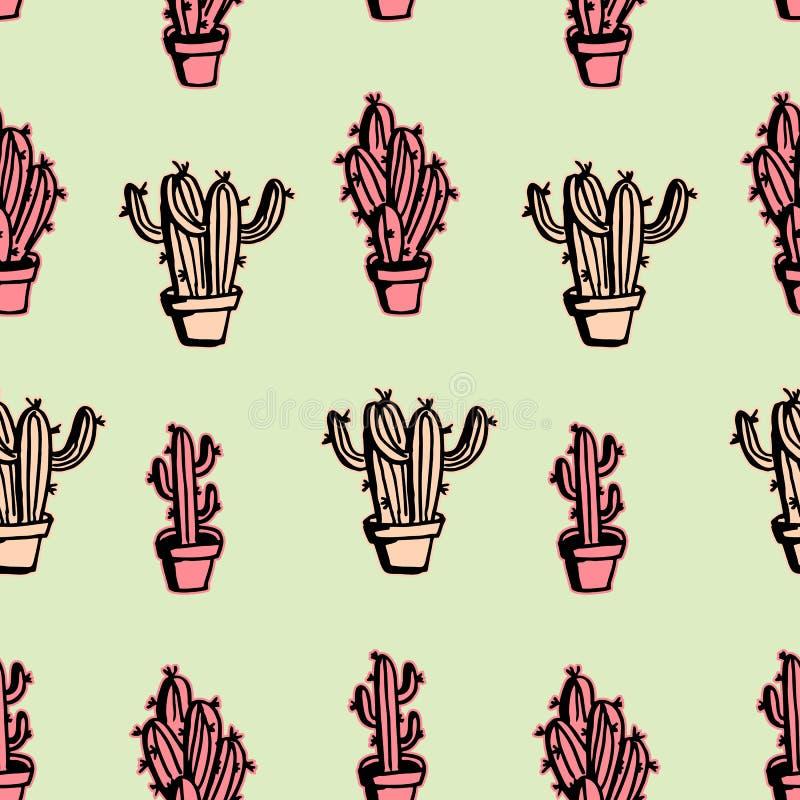 Kaktusowy bezszwowy deseniowy pastelowy rocznika tło royalty ilustracja