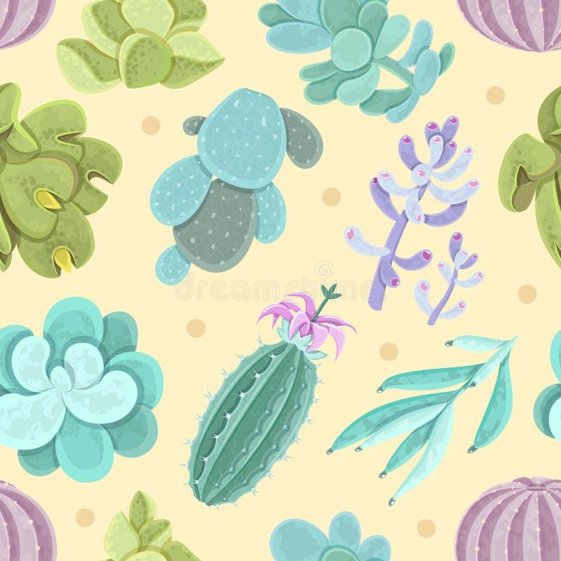 Kaktusowy bezszwowy wzór ilustracja wektor
