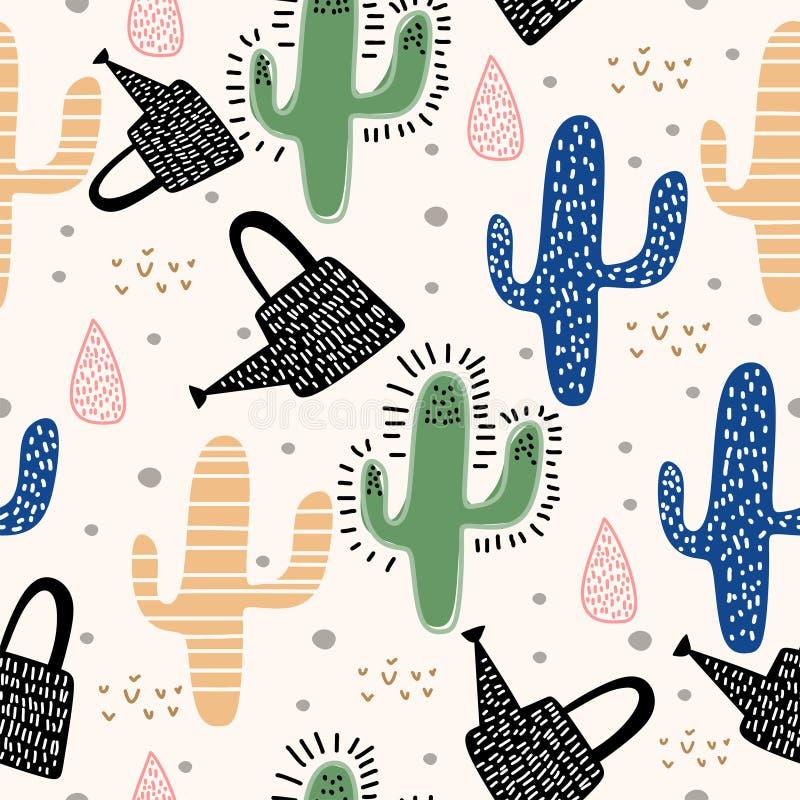 Kaktusowy bezszwowy wzór z śliczna ręka rysującym pastelowych kolorów tłem Wektorowa ilustracja dla dziecka i dzieciaków z śmiesz ilustracja wektor